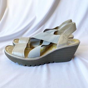 Fly London Yaji Idra Leather Cut Out Elastic Wedge